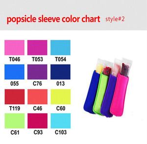 Popsicle Holders Sleeve Solid Color Pop Ice Sleeves Neoprene Freezer Holders Ice Bag Kids Summer Ice Cream Holder Kitchen Tools CLS615
