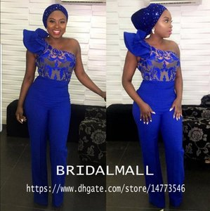 Royal Blue One Shoulder Jumpsuit Prom Dresses Lace Appliques Ankle Length Outfit Special Occasion Dress Satin African Formal Evening Gowns on Sale