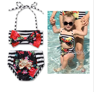 Ins girls bikini stripe flower Print baby Swim Suits cute Children two-piece swimming suit Kids Bathing Suits Toddler Sets Beachwear wt1763