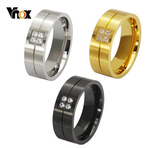 Wholesale Vnox MM Wedding Bands Rings for Women Man Bling CZ Stone Inlay Alliance Anel Promise Love Accessory