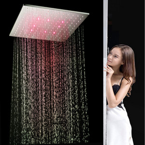 Wholesale Water Glow LED Light Shower faucets Heads Multi color Change Changing Ceiling Rain Shower For bathroom accessories