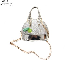 Wholesale Aelicy Girls Shell Messenger Bag Children s Bling Pu Leather Hand Bag Fashion Chic Stylish Shoulder New Crossbody