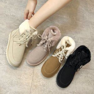 Wholesale Cute Warm Fur Snow Boots New Winter Women Boots Fashion Lace Up Ankle Ladies Brown Black Women Shoes Platform