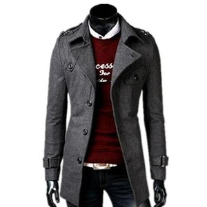 2018 autumn winter fashion new men leisure single-breasted trench coat   Men's turn down collar long woolen jacket