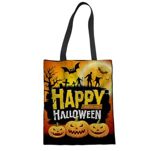 Wholesale Customize Own Image Tote Female Canvas Shopping Bag Halloween Jack O Lantern DesignerBeach Bags For Women Daypack Shouder Bag