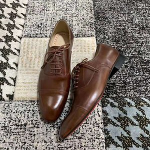 Wholesale Designer Gentleman Brown Genuine leather Luxury Red Bottom Oxford Shoes Men Dress Wedding Shoes Alfred Loafers Shoes Outdoor Casual Shoes