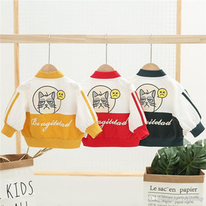 Wholesale Newest Clamping Designs INS Kids Boys Girls Coat Autumn Spring V-neck Cartoon Cat Stylish Front Pockets Zipper Children Outwears Jackets