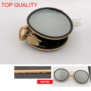 2019 wholesale top quality New Fashion Vintage Round Folding flash Sunglasses Metal Frame Women Retro pink rd3517 circle gafas Sun Glasses