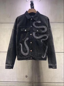 Wholesale 2019 Ami fashion Denim Jacket Mens Jackets Black embroidered snake jean jacket Ripped Denim s Streetwear Spring jacket
