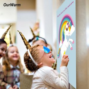 Wholesale OurWarm Birthday Supplies Pin the Horn on the Unicorn Game Gifts for Kids Theme Party Decoration OurWarm Unicorn Birthday Party