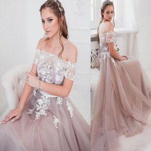 Wholesale 2019 Luxury Evening Dresses sexy Bateau boho sweep train with white 3D floral lace appliques puffy tulle Prom Formal dress custom made