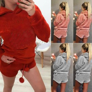 Wholesale Women Coral Velvet Suit Two Piece Autumn Winter Pajamas Warm homewear Pyjama Cute Cat Meow Pattern Hoodies Shorts Set FS5867