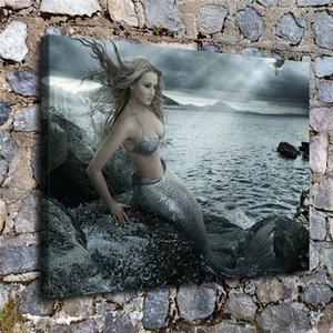 Mermaid View Distance,1 Pieces Canvas Prints Wall Art Oil Painting Home Decor (Unframed Framed) 12X16. on Sale