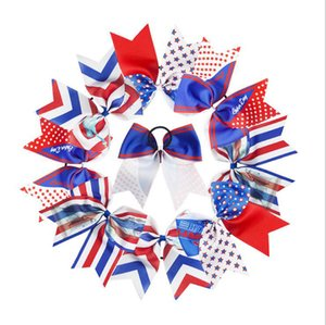 Wholesale 8 Large th Of July Cheer Bows Handmade American Flag Patriotic Elastic Bands Hair Bow Cheerleading For Girls Hair Accessories