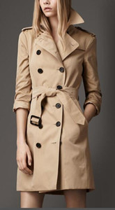 HOT CLASSIC! WOMEN ENGLAND MIDDLE LONG TRENCH COAT TOP QUALITY BRITISH DESIGNER DOUBLE BREASTED SLIM BELTED TRENCH FOR WOMEN B82081F260
