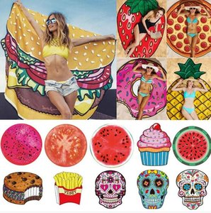 Fashion Round Towel Beach Pineapple Watermelon Donuts Mandala Beach Towel Round Tower Extra Large YOGA Mat Picnic mat 19 Style