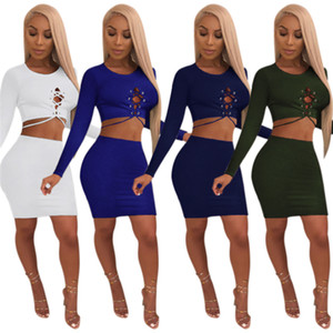 2019 New Solid Women Two Piece Set Grommet Lace Up Long Sleeve Crop Top + Bodycon Mini Skirt Night Club Outfits Female Suits