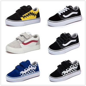 Wholesale High Quality children shoes infant classic old skool boys girls black white red baby kids canvas skateboard sport sneakers