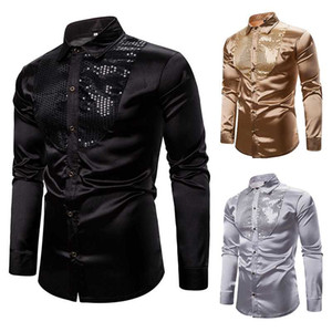 Wholesale disco dresses resale online - Mens Shiny Gold Sequin Black Silk Dress Shirts Long Sleeve Shiny Disco Party Casual Shirts Male Nightclub Party Prom Hip Hop