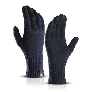 Wholesale 2018 Solid Wool Knitted Gloves For Women Unisex Winter Screen Touch Gloves Mittens Thick Warm Mittens Female Male Outdoor