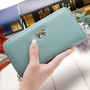 Wholesale Simple Cute Bowknot Women Long Wallet Solid Color PU Leather Zipper Bag Purse Phone Card Holder Bag Wallet