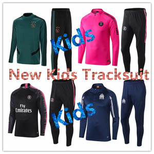 Wholesale 19 Ajax Training Suit RONALDO Kids Soccer tracksuit Jacket Marseille Real Madrid PSG Kids Football Tracksuit Jacket mbappe child kit