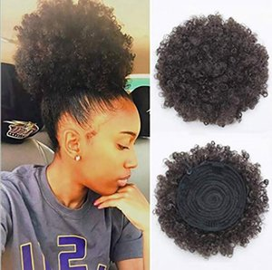 Wholesale High Puff Afro Curly bun Ponytail Drawstring Short Afro Kinky Ponytail Clip in on Synthetic Curly Hair Bun High Temperature Wire