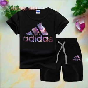 Wholesale ADlDAS LOGO Classic Luxury Designer Boy Set T Newborn Kids Baby Boys And Girls Tops T shirt and Pants Outfits Set Clothes