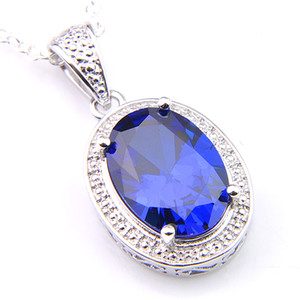 Wholesale 10 Pieces Oval Color Blue Topaz Gemstone Pendants Silver Pendants Necklaces for Women Men Holiday Gifts mm
