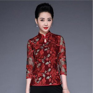 Wholesale High Grade New Fashion Women Clothing Red Gauze Embroidery Women Tops Noble Elegant Retro Tops Spring Plus Size Shirts XL