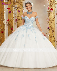 Wholesale Sweet Dress for years Ball Gown Quinceanera Dress Luxury Appliques Beaded Flowers Debutante Gown Vestidos de anos