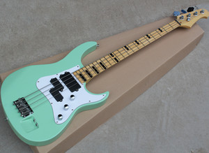 4 Strings Sky Blue Electric Bass with Maple Fingerboard,Two Inputs,White Pickguard,Can be Customized As Request