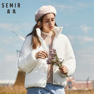 Wholesale SEMIR Women Short Padded Jacket with Snap Closure Stand up Collar Puffer Jacket with Slant Pocket Polyester Fill and Lined
