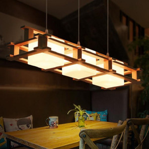 Wholesale dinning table round resale online - Wooden LED Pendant Lights For Dining Room two Wooden Round Lustre Wood Kitchen Luminaire Dinning Table Hanging Lamp v