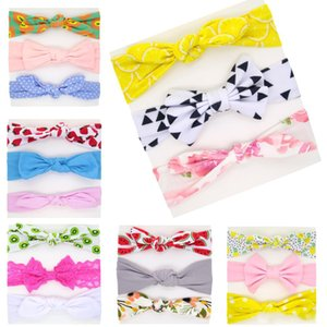 Baby girl Turbon Knot Headband 3pcs set Kids hair accessories Knot Bows Bunny band Flowers Floral Print headwear 3pcs set