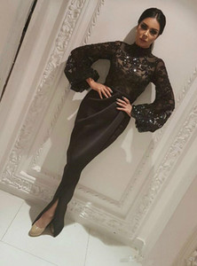 Wholesale Elegant Dubai Saudi Arabic Long Sleeve Mermaid Evening Dresses Sheer Sequins Black Muslim Split Long Prom Pageant robe de mariée Party Gowns