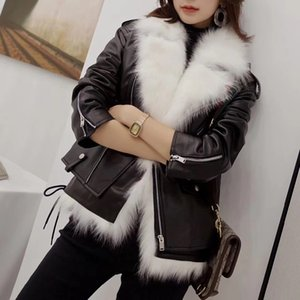 Wholesale 2019 Faux Fur Fox Lining leather jacket Winter Coat Parka Women Motorcycle leathe jacket faux fur coat vest piece set