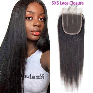 Peruvian 100% Human Hair Straight 5X5 Lace Closure Middle Three Free Part 5 By 5 Lace Closure Straight Human Hair 8-20inch