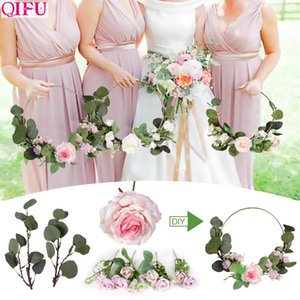 Wholesale QIFU Metal Ring Wreath With Artificial Flower Wedding Door Hanging Decor Bridesmaid Handheld Garland Hawaiian Party Supplies