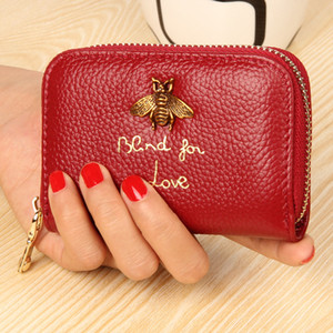 Wholesale Brand Women Genuine Leather RFID Zipper Credit Card Holder Travel Coin Purse Business Animal Bee Red