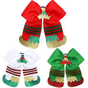 Wholesale rope boots resale online - 7 Inch Christmas Elastic Bow Rubber Band Girls Hair Rope Xmas Boots Crown Bowknot Hairbands Hair Ring Children Party Headdress Headwear M604