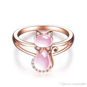 Wholesale Drop Shipping Rose Gold Color Cute Cat Animal CZ Ross Quartz Crystal Pink Opal Rings Jewelry for Women Girls