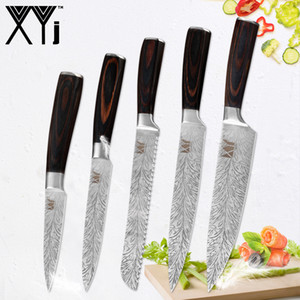 XYj Cutlery Knives 7CR17 Stainless Steel Kitchen Knife Set Color Wood Handle Chef Bread Slicing Fruit Utility Knife Cooking Tool