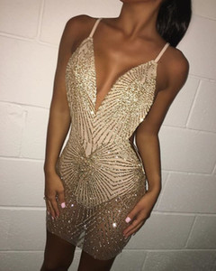2019 Sexy Short Party Dresses Blingbling Gold Beaded Cocktail Dress See Through Sleeveless Cheap Club Wear on Sale