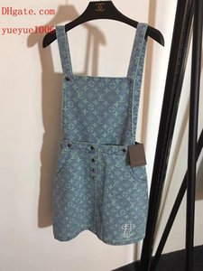 Wholesale 2019 Summer dresses light blue Letter embroidery jacquard denim sling skirt ladies casual Dresses top quality women clothes AB