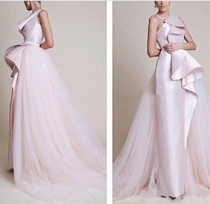 2019 New Scalloped Tulle Formal Activity Dress Sleeveless One Shoulder Vestidos Middle East Style Pink A-Line Evening Dress on Sale