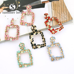 New Arrival Geometric Crystal Stone Rhinestone Earrings Fashion Big Colorful Statement Dangle Earring Daily Wedding Party Jewerly Gift-Y