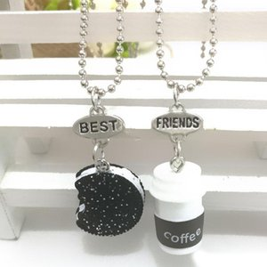 Wholesale 3D Cookie and Coffee Cup Necklace Set Best Friend Necklaces Pendants Fashion friendship Jewlery for Women Kids Gift Drop Ship