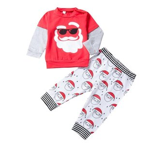 Wholesale Sweet Toddler Boy Girl Christmas Outfits Cartoon Long Sleeve Cartoon Santa Shirt Tops Long Striped Pants Xmas Clothes