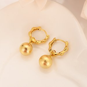 Wholesale 24k gold plated bamboo round beads simple dubai Indian ball bridal jewelry earrings wedding engagement souvenirs gifts